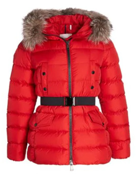 Clion Belted Fox Fur Trim Jacket by Moncler