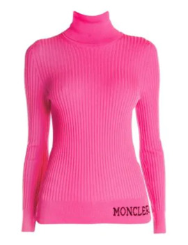 Ribbed Logo Wool Turtleneck Sweater by Moncler