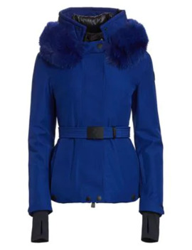 Lapalnce Belted Fox Fur Hood Jacket by Moncler Grenoble