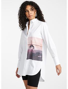 Long Photo Print Poplin Shirt by Icône