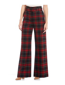 Adeline Wide Leg Belted Paperbag Plaid Pants by Cremieux