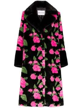 Liliana Floral Print Faux Fur Coat by Stand Studio