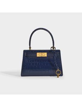Lee Radziwill Embossed Petite Satchel In Blue Calfskin by Tory Burch