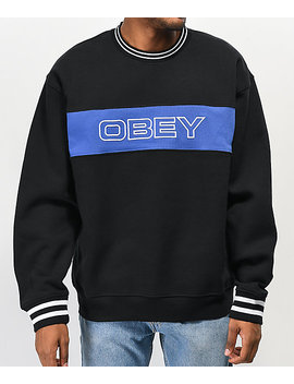 Obey Stand Black &Amp; Blue Crew Neck Sweatshirt by Obey
