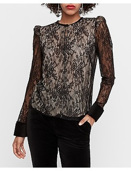X Karla French Cuff Lace Top by Express
