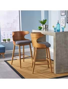 Kamryn Mid Century Modern Upholstered Barstools (Set Of 2) By Christopher Knight Home   Grey by Christopher Knight Home