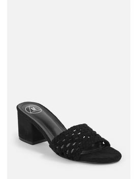 Black Rafia Mid Heel Mules by Missguided