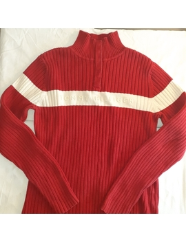 Tommy Hilfiger Red Sweater With White Stripe by Tommy Hilfiger