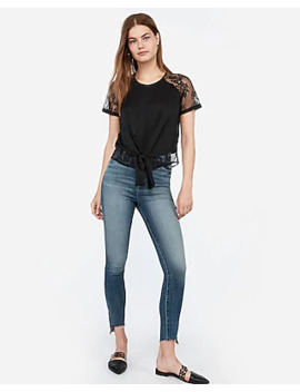 Satin Lace Tie Front Top by Express