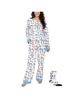 Munki Munki Ladies' Flannel Pj Set Exclusive Costco Theme With Sock by Costco