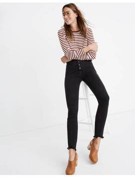 "Petite 10"" High Rise Skinny Jeans In Berkeley Black: Button Through Edition by Madewell"