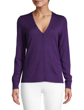 V Neck Basic Merino Wool Cardigan by Lord & Taylor
