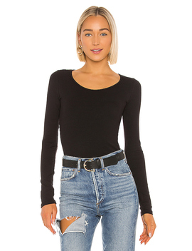 Long Sleeve Deep Scoop Neck Top by Vince