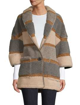 Striped Wool Blend Sweater Coat by En Thread