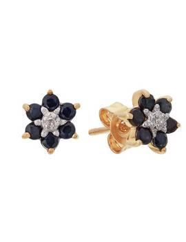 Revere 9ct Yellow Gold Sapphire & Diamond Stud Earrings618/4391 by Argos