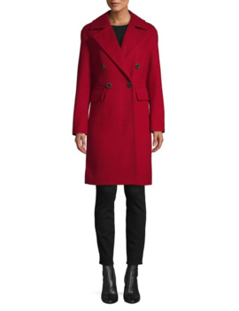 Double Breasted Wool Blend Coat by Anne Klein