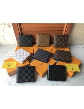 Paris Plaid Style Mens Wallet Famous Men Luxury Wallets Special Canvas Multiple Short Small Bifold Purses With Box by D Hgate.Com