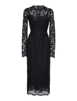 Cotton Blend Guipure Lace Midi Dress by Dolce & Gabbana