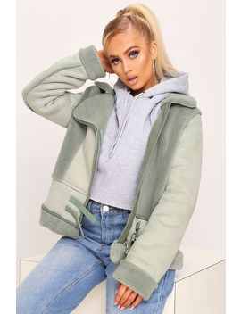 Sage Contrast Aviator Jacket by I Saw It First