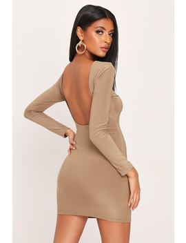 Taupe Double Layer Slinky Open Back Mini Dress by I Saw It First