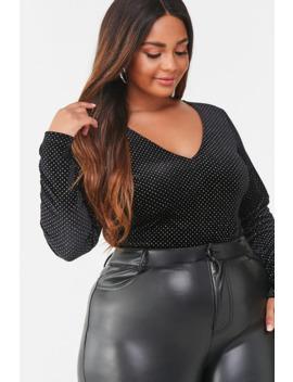 Plus Size Glitter Clip Dot Bodysuit by Forever 21
