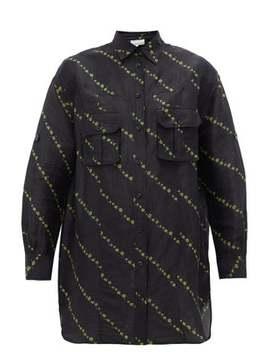 Micro Floral Print Linen Blend Shirtdress by Ganni