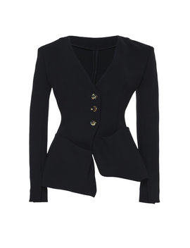 Asymmetric Crepe Blazer by A.W.A.K.E. Mode