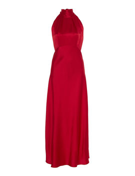 Michelle Silk Satin Midi Dress by Saloni