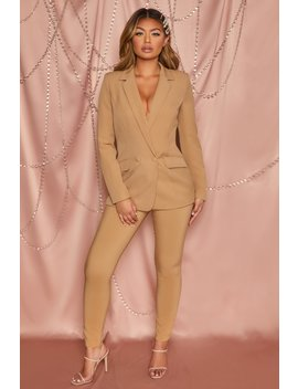 Business As Usual High Waisted Tailored Trousers In Tan by Oh Polly