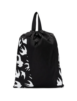Black Swallow Drawstring Backpack by Mcq Alexander Mcqueen