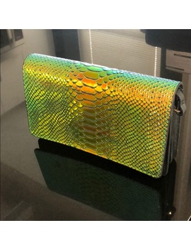 Leather Snakeskin Iridescent Clutch W Crossbody   Nwt by & Other Stories