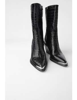 Leather Cowboy Heel Ankle Boots With Metal Trim by Zara