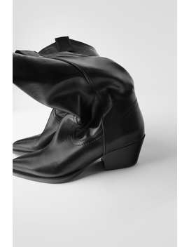 Soft Leather Cowboy Heel Ankle Boots by Zara