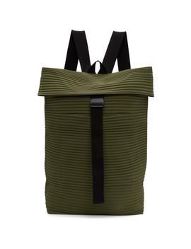 Khaki Pleats Flat Backpack by Homme PlissÉ Issey Miyake