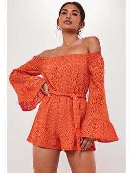 Orange Broderie Anglaise Flared Sleeve Playsuit by Missguided