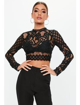Black Lace Patterned Crop Top by Missguided