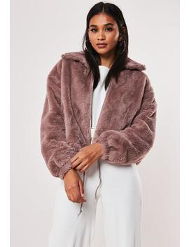 Mauve Cropped Faux Fur Bomber Jacket by Missguided