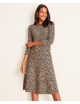 Petite Cheetah Print Flare Sweater Dress by Ann Taylor