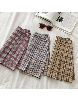 Diyi   Color Block Plaid High Waist A Line Skirt by Diyi