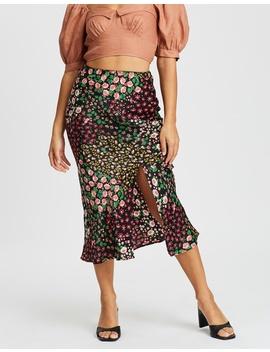 San Diego Patchwork Floral Bias Skirt by Topshop Petite