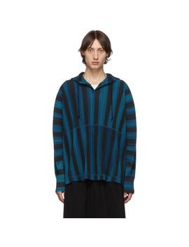 Blue & Black Stripe Rod Hoodie by Homme PlissÉ Issey Miyake