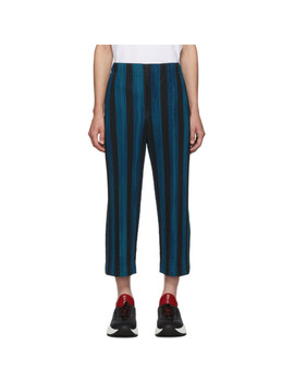 Blue & Black Stripe Rod Trousers by Homme PlissÉ Issey Miyake