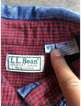 Womens L.L.Bean Houndstooth Flannel Lined Denim Shirt Sz Small Made In Usa by L.L. Bean