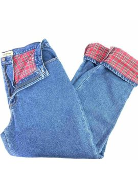 L.L.Bean Womens Straight Leg Jeans Blue Plaid Flannel Lined Relaxed Fit Tall 16 by L.L.Bean