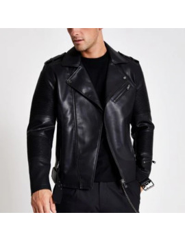Black Faux Leather Belted Biker Jacket by River Island