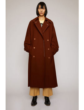 Wool Twill Trench Coat Rust Brown by Acne Studios