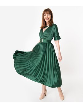 Vintage Style Hunter Green Pleated Satin Long Dress by Unique Vintage