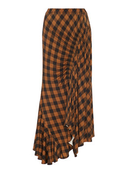 Hayat Ruched Checked Twill Midi Skirt by Preen By Thornton Bregazzi