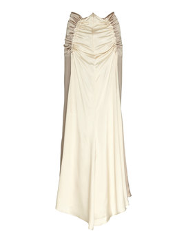 Adela Ruched Silk Midi Skirt by Lee Mathews