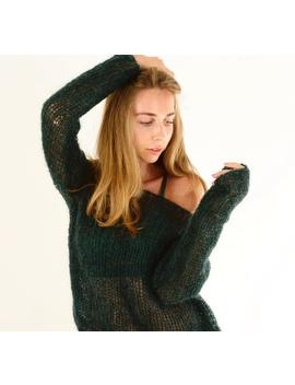 Dark Green Mohair Sweater, Off Shoulder Sexy Sweater, Soft Wool Knit Sweater, Loose Knit Sweater, Bohemian Spring Sweater, Oversized Sweater by Etsy
